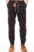 Мужские штаны карго Ястребь черные, зауженные с карманами (брюки-карго, Cargo)