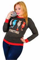 Трендовая женская кофта с принтом кошки рукав длинный турецкий трикотаж батал