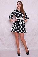 Красивое синее платье с белыми цветами и оригинальный пояс бантик на талии