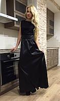 Женское атласное платье в пол с гипюровым верхом