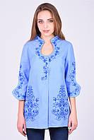 Дизайнерская вышитая блуза-туника Капелька голубого цвета из домотканого полотна