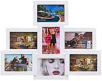 """Премиум коллаж для 7 фото """"Пирамида"""" 50х50 см. Натуральное дерево (разные цвета)"""