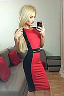 Красно-черное женское платье