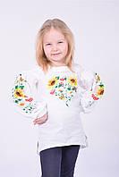 Нарядная блуза вышиванка для девочки из домотканого полотна  свободного кроя