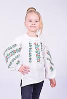 Очень красивая  праздничная вышиванка из домотканого полотна для девочки модного кроя
