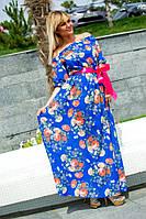 Длинное женское платье из шифона  в цветы