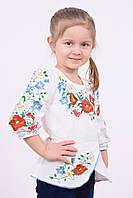 Праздничная детская вышиванка расшитая гладью маками ромашками и васильками