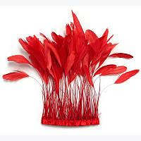 Тесьма перьевая(реснички).Цвет Красный. Цена за 0.5м