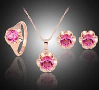 Комплект украшений с розовой позолотой и розовыми цирконами код 879