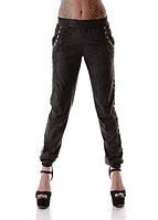 Замшевые женские брюки со штанинами на резинке со стразами посадка средняя