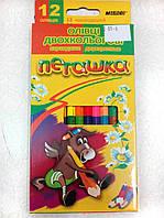 Карандаши цветные Пегашка, 12 карандашей, 24 цвета (двусторонние), ТМ Marco