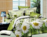 """Комплект постельного белья двуспальный, ранфорс, 3D """"Махровые ромашки"""""""