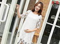 Шикарное, кружевное белое платье для будущих мам