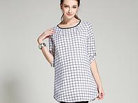 Удлинённая, свободная клетчатая рубашка для беременных и кормящих