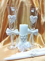 """Свадебный набор """"Сердце с бантом"""" белый."""