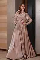 Женское платье в пол из масла и длинными рукавами