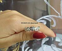 Кольцо Сердца с камнями из серебра