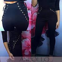 Женские стильные лосины с завышенной талией и шнуровкой