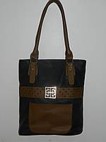 Большая черная сумка искусственная кожа мягкая