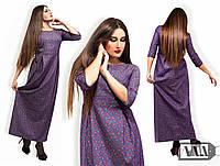 Платье джинс с цветочным принтом № 2-819 батал