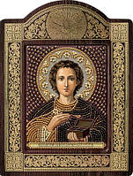 Набор с фигурной рамкой для вышивания бисером икона Св. Вмч. Целитель Пантелеимон