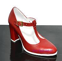 Женские классические красные кожаные туфли на высоком каблуке., фото 1