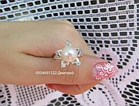 Себеряное кольцо Цветок с жемчугом