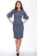 Модное летнее платье из стрейч джинса с оригинальными рукавами-фонариками
