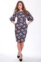 Шикарное дизайнерское платье с очаровательным цветочным принтом по боках карманы
