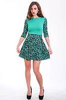 Модное платье с пышной юбкой из флокированого трикотажа