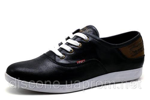 Мужские спортивные туфли Levi's, натуральная кожа, черные, р. 41 42