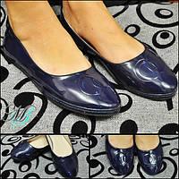 Темно-синие женские балетки