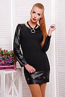 Маленькое черное платье с отделкой из экокожи