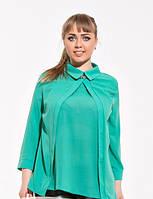 Стильная шифоновая блузка батальных размеров (3 цвета)