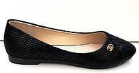 Балетки модные Chanel с узором черные KF0244