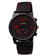 Мужские наручные часы GT Grand Touring спортивные силиконовый ремешок (красные цифры)
