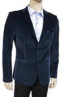 """Велюровый пиджак """"Pierre Carlos"""". Турция. Мужской. Синий. Приталенный"""