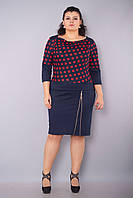 Волна. Платья больших размеров. КрасныйГорох., фото 1