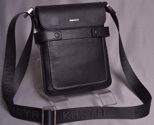 Интересная мужская кожаная сумка через плечо с возможностью увеличения объема Karya 0583-45