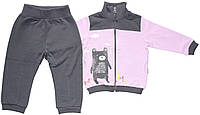 Спортивный костюм для девочки, серо-фиолетовый, рост 80 см, ТМ Робинзон