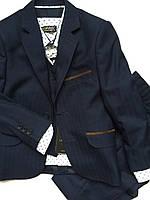 Школьная форма темно-синяя клетка, одежда для мальчиков 116,134