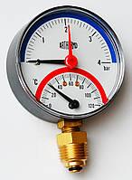 Термоманометр радиальный ARTHERMO T1110 (80мм, 0-4 бар, 0-120°С)