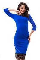 Неповторимое облегающее женское платье с молнией на спине с кружевной отделкой по низу рукав три четверти креп