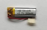 Литиевый элемент питания 041235 3,7V (фактический размер 04x12x35mm)  300mAh