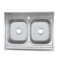 Мойка кухонная накладная 8060 две чаши электро-сатин Platinum 0,8 мм глубина 18 см