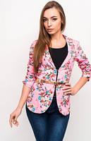 Яркий пиджак с цветочным принтом и ремешком