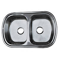 Мойка кухонная 7749 см две чаши Platinum поверхность электро-сатин 0,8 мм глубина 18 см