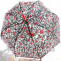 """Зонт подростковый """"Цветы"""" черно-красный"""