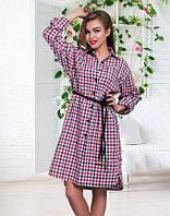 Клетчатое женское платье-рубашка под пояс с разрезами по бокам рукав длинный лен