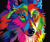 Картина для рисования Турбо Радужный волк худ Ваю Ромдони  30 х 40 см